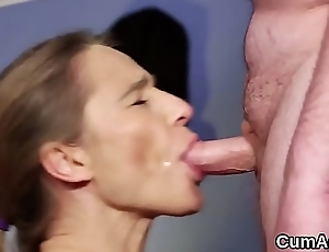Kinky beauty gets cum load on her face eating all the semen