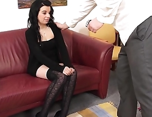 Fakeshooting Black hair nylon lover disturbed by old act agent on act casting