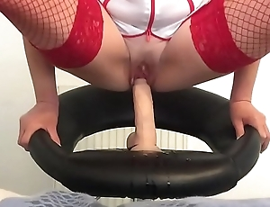 Dirty nurse riding and fingering to massive squirts
