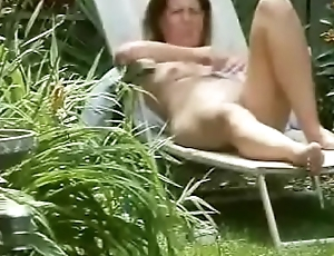 Spying my mom fingering in court yard