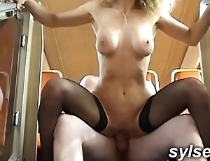 MILF and YOUNG BOY in TRAIN before PUBLIC ORGY in club
