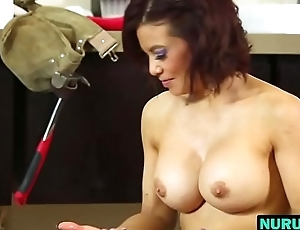 Body massage from busty chick Ryder Skye in bathroom