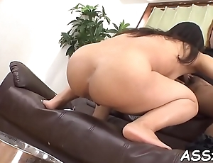 Erotic asian pussy shaving and anal-copulation
