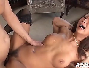 Coarse anal riding from cute oriental