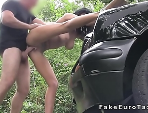 Oral sex for atrophied babe in fake taxi