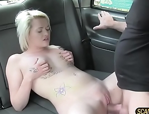 Damn beautiful Rochelle gets fucked doggystyle position by the driver