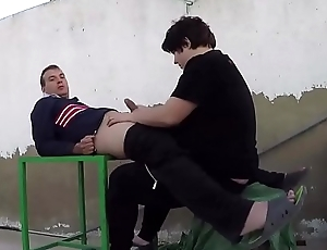 She sucks his dick on the green table outside in public. SAN99