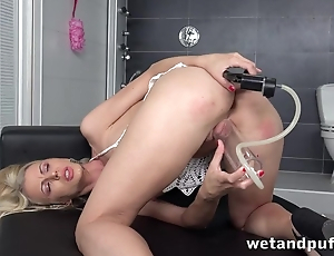 Sweet shaved pussy of blonde gets wet from carnal knowledge toys