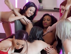 Young lezzies enjoy hot pussy-licking at hand wild orgy