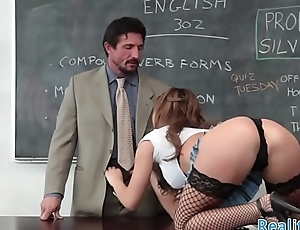Teen beauty pussyfucked by teacher after bj
