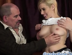 Busty babe fucked and jizzed on hard by grandpa