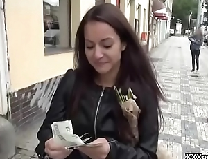 Cutie amateur european slut suck cock in public for cash 17