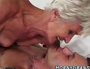 Sperm mouthed granny fellow-feeling a amour