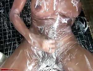 Cute doll with balls strokes her thick shedick until cumshot